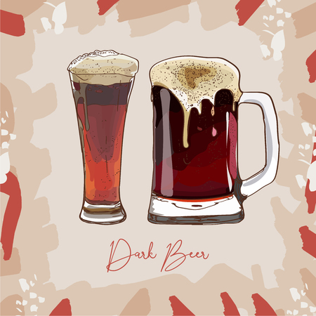 Two glasses of Dark Beer, hand-drawing oktoberfest beer, beer with foam. Vector isolated illustration on abstract background. Sketch style image for menu design, poster or flyer.