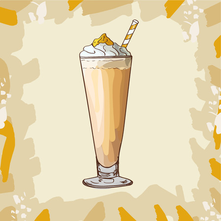 Orange citrus, pumpkin or apricot Milkshake in glass with red cherry and ice cream isolated. Colorful vector illustration in sketch style. Hand drawn image for menu and poster design with fresh drink. Çizim