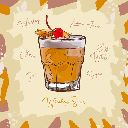 Whiskey Sour Contemporary classic cocktail illustration collection. Alcoholic cocktails hand drawn vector illustration set. Menu design item of sketch bar drink glass.