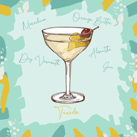 Tuxedo Unforgettable Classics gin, dry vermouth, absinthe, orange bitter, Maraschino bar alcoholic drink. Vector hand drawn menu design image collection. Sketch isolated illustration of cocktail. Çizim