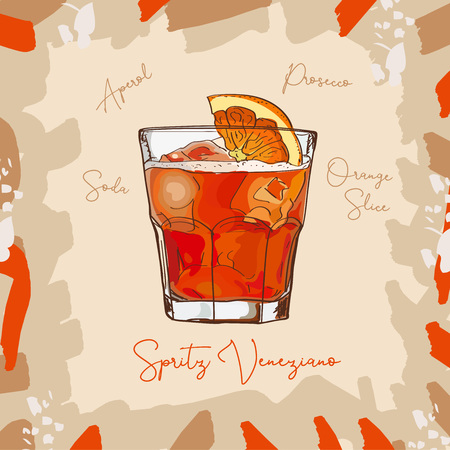Spritz Veneziano New Era Drink of Aperol, Soda, Prosecco classic cocktail illustration collection. Alcoholic cocktails hand drawn vector illustration set. Menu design item of sketch bar drink glass.  イラスト・ベクター素材