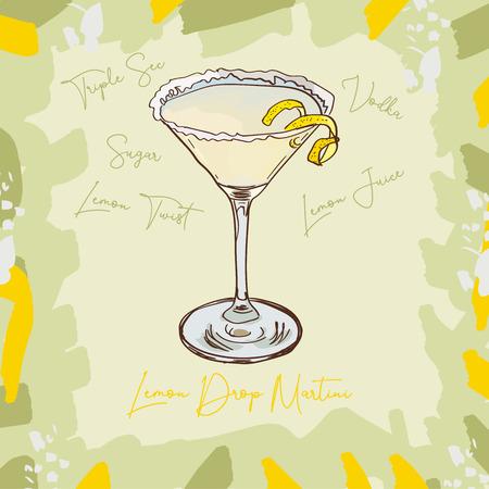 Lemon Drop Martini Contemporary classic of Vodka, Triple Sec, Lemon Juice, Sugar cocktail illustration collection. Alcohol hand drawn vector illustration. Menu design sketch bar drink glass.