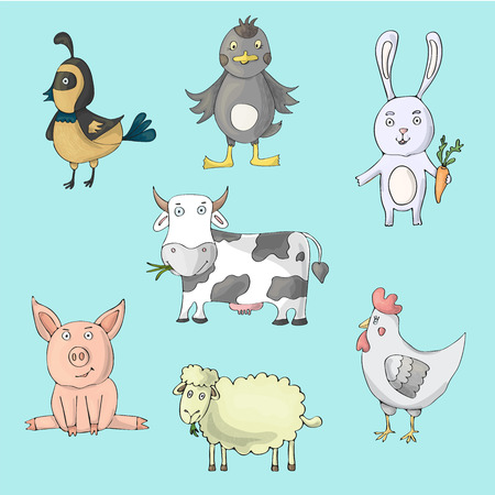 Farm cute animals collection with cow, hen, pig, sheep, ducks, rabbit, quail. Cartoon vector isolated characters on blue backgroud. Colored images Ilustração