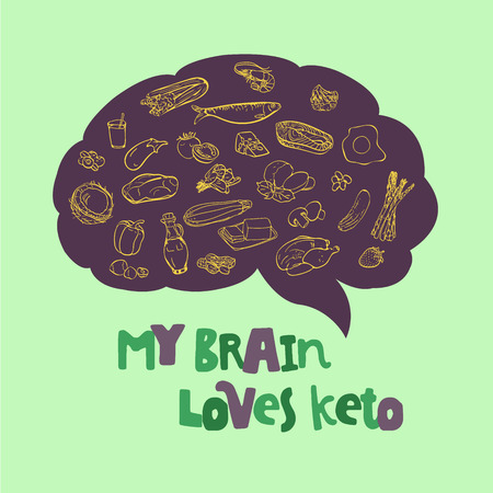 Ketogenic Diet vector sketch banner illustration. Healthy concept with food illustration collection - fats, proteins and carbs on one Keto vector illustration  イラスト・ベクター素材