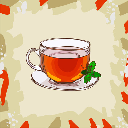 Glass cup with classic black tea with mint leaves on abstract background. Hot drink hand drawn vector illustration set. Menu design item of sketch bar drink glass.  イラスト・ベクター素材