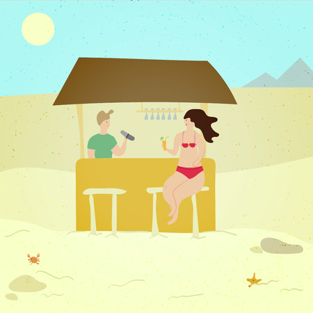 Woman at the beach bar - cartoon people character illustration. Happy smiling girl sitting at the counter, barman, drinking cocktails. Summer season holiday vacation concept. Vector modern trendy Stock Illustratie