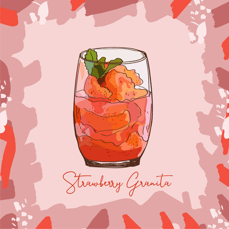 Fresh Strawberry Granita Sorbet Gelato sketch style image. Hand drawn vector illustration. Isolated menu design item for posters, flyers and menu.