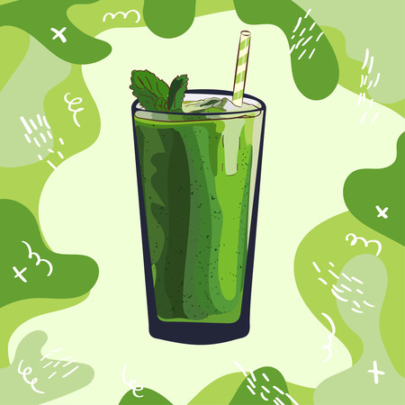 Green smoothie recipe. Menu element for cafe or restaurant with energetic fresh drink. Fresh juice for healthy life.