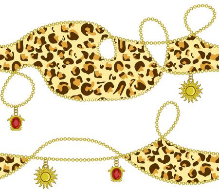 Leopard, golden chain, golden sun, ruby diamond color seamless pattern design, vector illustration background. Modern trendy endless texture for textile, silk, dress, clothes, paper, wallpaper print