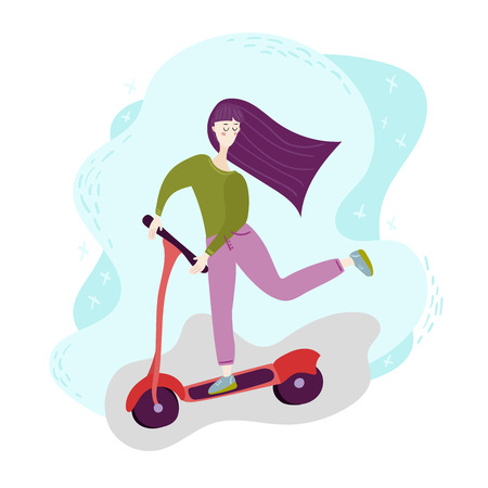 Young woman with long hair on kick scooter. Concept girl silhouette is engaged in leisure, entertainment. Outdoor Activity. Isolated flat trendy vector modern style Illustration on white background
