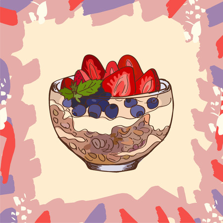 Parfait glass cup bowl tasty dessert with granola, blueberry, strawberry and yogurt sketch style image. Hand drawn vector illustration. Isolated menu design item for posters, flyers and menu.
