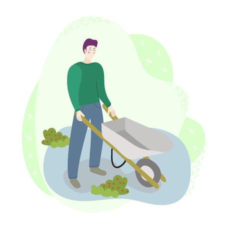 Travailleur ouvrier homme tenant une brouette sur le terrain. Scène de travail de récolte agricole de saison. Illustration de style moderne de dessin animé plat isolé sur fond blanc pour le web et l'impression