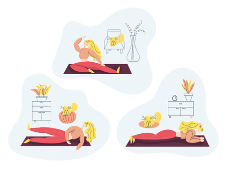 Girl exercising Fitness at Home. Sport Healthy lifestyle concept set with Fit Woman Doing Pilates, Yoga, Training. Isolated flat trendy cartoon modern style Illustration character for web and print Vetores