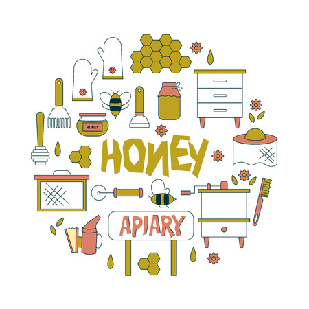 Beekeeping, apiculture icons. Beekeeper equipment, honey processing, honeybee, beehives types, natural products. Bee-garden. Ilustração