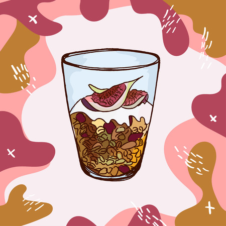 Granola with figs, nuts, raisins and yogurt in a glass beaker. Hand drawn modern vector illustration. Isolated menu design item for web and print