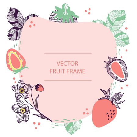Fruit strawberry text frame hand drawn flat template. Vector design with botanical illustration of red strawberry. For business, posters, web and print