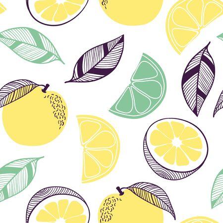 Nahtloses Muster von orange Zitrusfrüchten. Frucht, Blatt, Scheibe, Blume. Vektor handgezeichnete Illustration Textur im modernen flachen Stil für Web, Druckplakate, Textilien, Kinderkleidung, Leinenkleid, Tapeten
