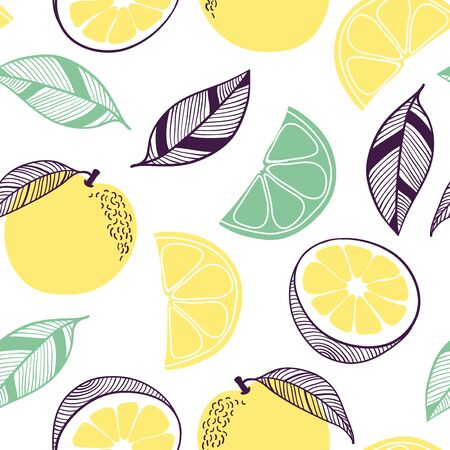 Seamless pattern of orange citrus. Fruit, leaf, slice, flower. Vector hand drawn illustration texture in modern flat style for web, print posters, textile, children clothes, linens dress, wallpapers