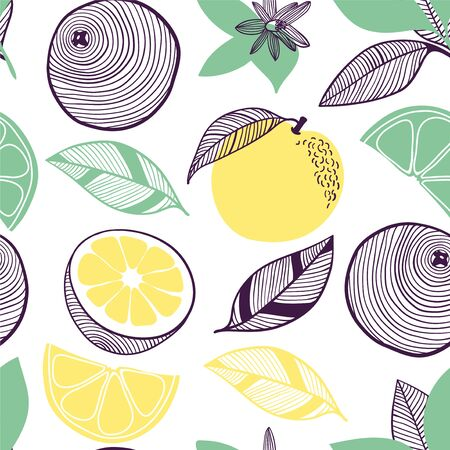 Seamless pattern of citrus. Fruit, leaf, slice, flower of orange, lime, lemon. Vector hand drawn illustration set in modern trendy flat style for web, print posters and wallpapers