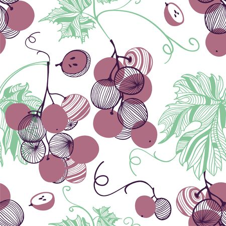 Seamless pattern of violet grapes. Bunch and vine. Vector hand drawn illustration set in modern trendy flat style for web, print posters and wallpapers Ilustração