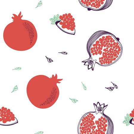 Seamless pattern of pomegranate. Whole, half. Vector hand drawn illustration set in modern trendy flat style for web, print posters and wallpapers Ilustração