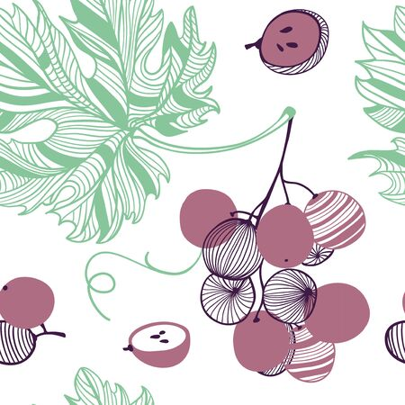 Seamless fashion pattern of violet grapes. Bunch and vine. Vector hand drawn illustration texture in modern flat style for web, print posters, textile, children clothes, linens dress, fabric