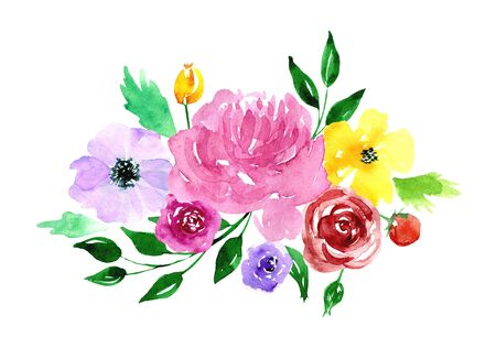 Watercolor loose flowers beautiful clip art. Elegant floral bouquet, banner with pink, violet, yellow flowers and leaves, hand drawn. Design for invitation, wedding, save the date or greeting cards.