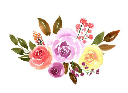 Watercolor loose flowers beautiful clip art. Elegant floral bouquet, banner with pink, violet, yellow rose flowers and leaves, hand drawn. Design for invitation, wedding, save the date, greeting card. 版權商用圖片