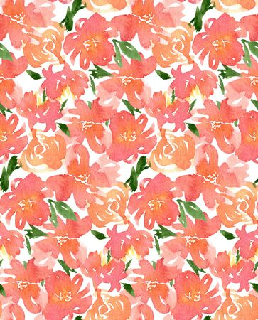 Watercolor seamless flower pink peony rose pattern. Endless print for textile, clothes, fashion, linens, wallpapers. Hand painted art in modern trendy style. 版權商用圖片