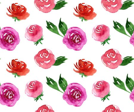 Watercolor beautiful tiny seamless pink and purple roses flower pattern. Endless print for textile, clothes, fashion, linens, dress, cover, wallpaper. Hand painted art in modern trendy style. 版權商用圖片