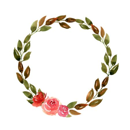 Watercolor Green Leaves Wreath Hand Painted Leaf Foliage Garland. Template for wedding, event, greeting cards, baners. Modern trendy style design image. 版權商用圖片