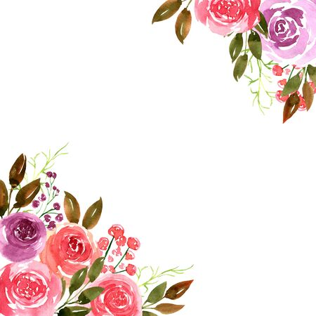 Watercolor loose style pink, red, violet ostin rose flower and green leaves frame. Modern trendy template for invitation, wedding, banner, greeting card design, poster. 版權商用圖片