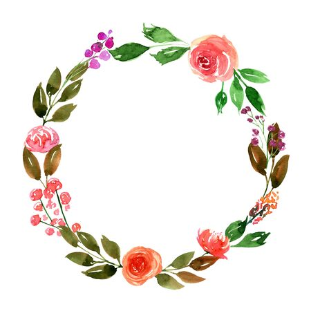 Watercolor Green Leaves and Pink Roses Wreath Hand Painted Leaf Foliage Garland. Template for wedding, event, greeting cards, baners. Modern trendy style design image. 版權商用圖片