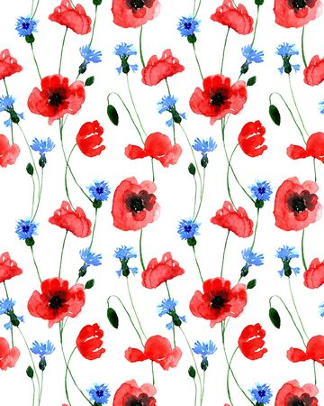Watercolor seamless wild field poppy and cornflower flower pattern. Endless print for textile, clothes, fashion, linens, dress, cover, wallpaper. Hand painted art in modern trendy style. 版權商用圖片