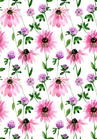 Watercolor seamless wild field clover and echinacea flower pattern. Endless print for textile, clothes, fashion, linens, dress, cover, wallpaper. Hand painted art in modern trendy style.