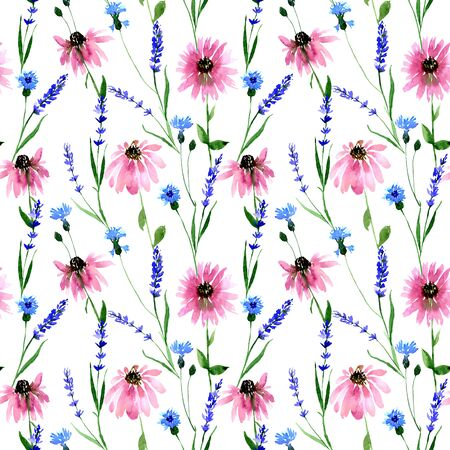 Watercolor seamless wild field lavender, cornflower, echinacea flower pattern. Endless print for textile, clothes, fashion, linens, dress, cover, wallpaper. Hand painted art in modern trendy style.