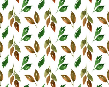 Watercolor beautiful tiny seamless green brown leaves pattern. Endless print for textile, clothes, fashion, linens, dress, cover, wallpaper. Hand painted art in modern trendy style. 版權商用圖片
