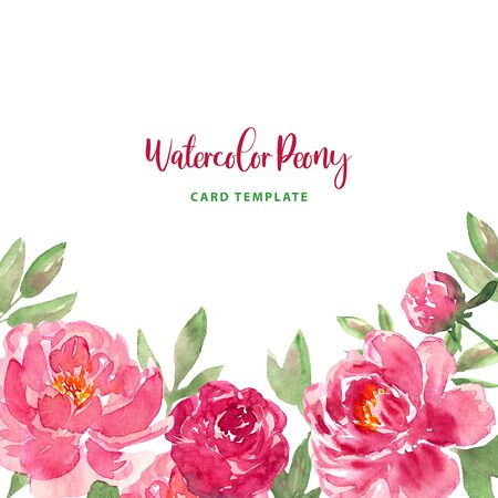 Watercolor loose style pink peonies flower and green leaves frame. Modern trendy template for invitation, banner, wedding, greeting card design. Poster with peony, rose.
