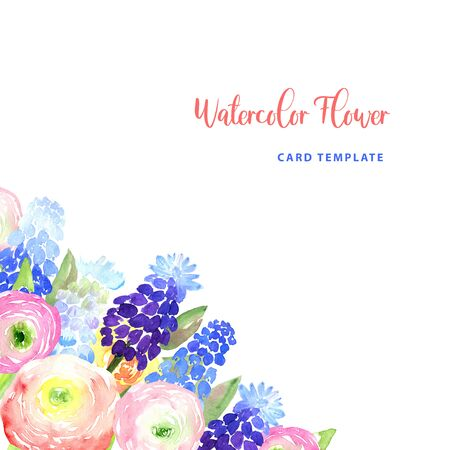 Watercolor loose style pink, red, violet, blue ranunculus and muscari flower and green leaves frame corner. Modern trendy template for invitation, wedding, banner, greeting card design, poster print 版權商用圖片