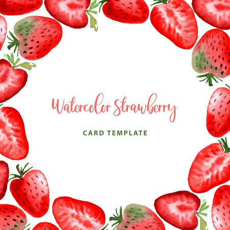 Watercolor Strawberry fruit berry frame round border card. Modern color trendy strawberries template for label, banner, card design, poster, cover print.