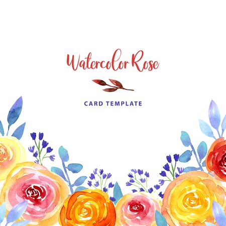 Watercolor loose style pink, red, peach ostin rose, blue bell flower and green leaves corner frame. Modern trendy template border for invitation, wedding, banner, greeting card design, poster.