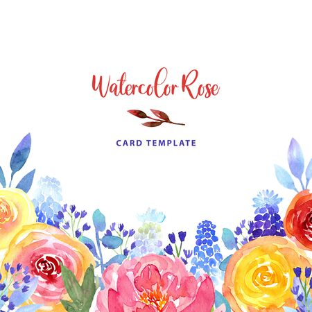 Watercolor loose style pink, red, peach ostin rose, peony, blue bell flower and muscari corner frame. Modern trendy template border for invitation, wedding, banner, greeting card design, poster.