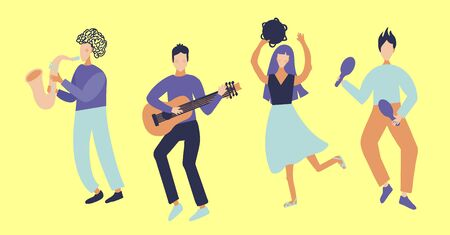 Musical group of girls and men. Guitar player, saxophonist, maracas, tambourine player. Country Music Festival. Vector flat cartoon modern style design character illustration isolated on background.