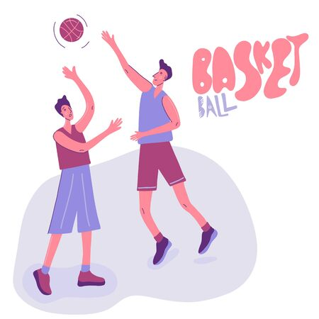 Basketball Players in Action. Two attack men playing in basketball. Active lifestyle. Flat vector cartoon character design. Sport Team on Professional Tournament. Sportsman Score Goal in Game.