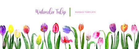 Watercolor beautiful loose style pink, red, violet, yellow tulip flower and green leaves frame. Modern color trendy template for invitation, wedding, banner, greeting card design, poster.