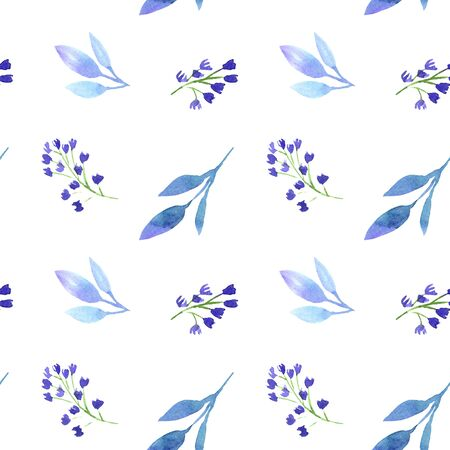 Watercolor floral botanic blue purple seamless pattern. Design for textile, wallpaper, fabric, linens, fashion dresss, clothes. modern trendy template image