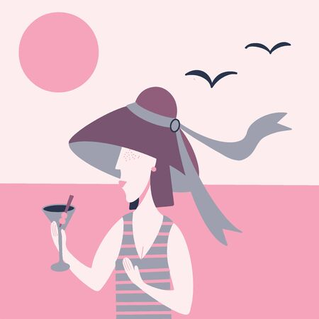 Beach banner or poster design with girl in violet summer hat drinking martini cocktail. Flat vector illustration in retro style. Beautiful women modern trendy silhouette in pink colors 向量圖像