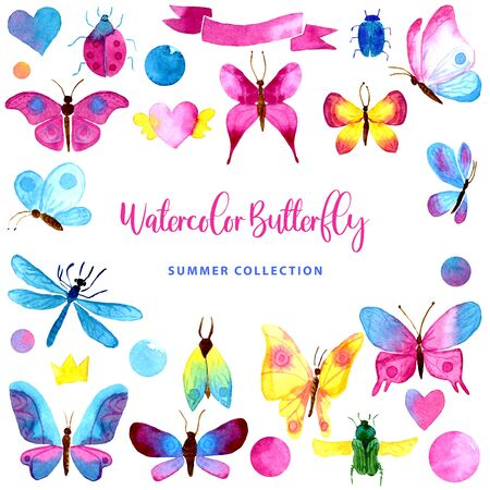 Watercolor set of color butterflies. Collection of isolated hand drawn bugs, dragonfly, hearts, ribbons, bubbles. For print cards, textile, invitation, wallpapers, banners posters