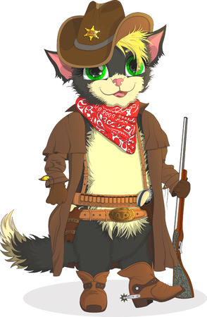 cat, cowboy, cartoon, smile, boots, pussy, animal, revolvers, wild, illustration, background, white, cute, pets, funny pet strong west kitty legend texas courage prairie pretty card beautiful design raster maine spurs art hap