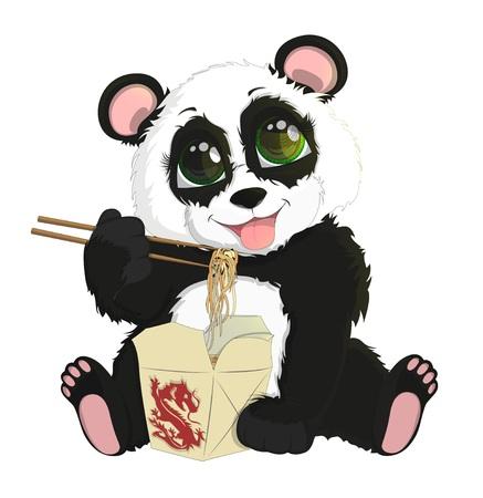 Mignon bébé panda drôle de manger des nouilles chinoises Vecteurs